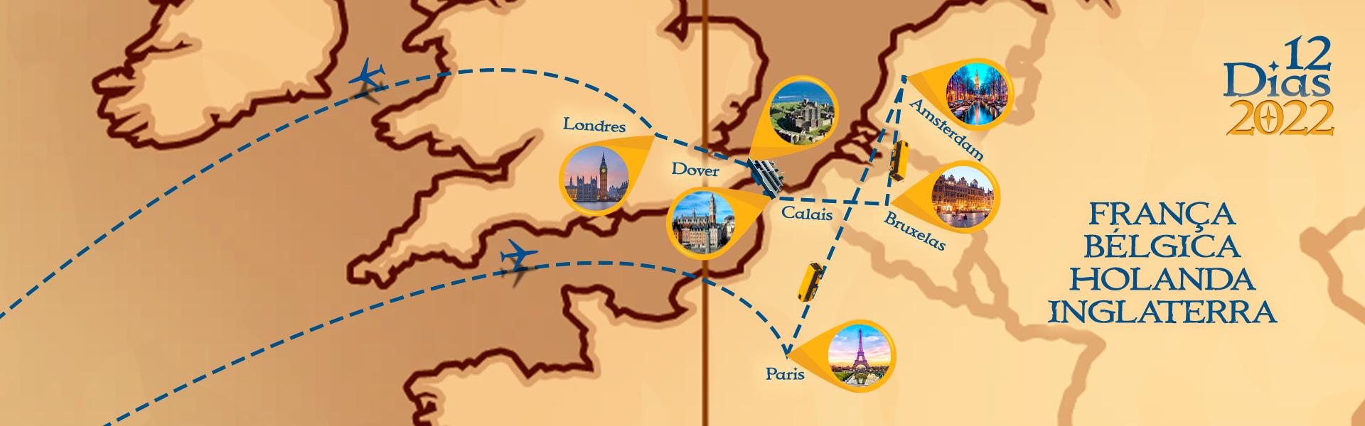 Roteiro de França, Bélgica, Holanda e Inglaterra