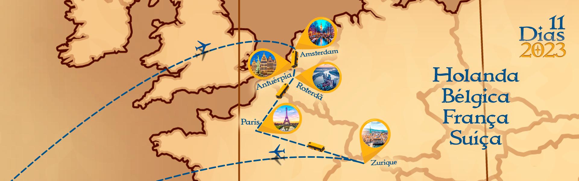 Roteiro de Holanda, Bélgica, França e Suiça